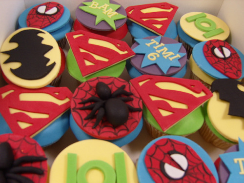 Superhero cucpakes by elizabethscakeemporium on Flickr.
