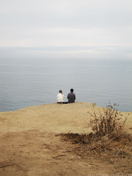 A stalker picture I took of this couple my friend and I saw at the cliffs near UCSD. They were so cute together: sitting and listening to love songs.