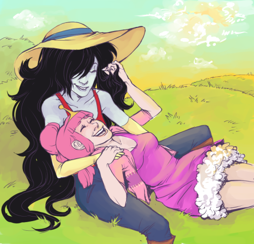 [image: Digitally illustrated piece of Princess Bubblegum and Marceline the Vampire Queen sitting together in a grassy field.  Bubblegum is resting her head in Marceline's lap, resting her body between her legs.  Both are smiling fondly at one another.] patchowow:  FINALLY DONE!! THE COLORING IS PRETTY POOPY BUT ALL WELL v__v