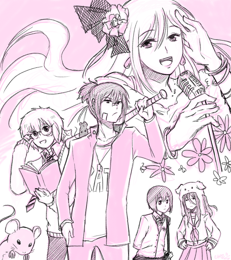 Nezumi the gang leader that is a cross-dressing pop idol in secret. Shion is his childhood friend/manager.  I don't know why, either.