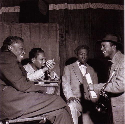 Miles Davis, Kenny Drew, Art Blakey and Jimmy Heath during rehearsal for Davis's All Stars session in NYC, April 20, 1953 (photo by Francis Wolff)