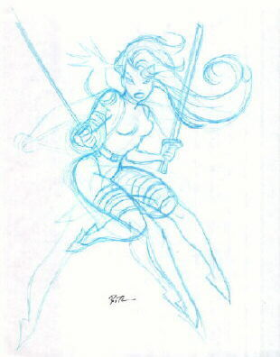 dr-atomics-nerd-factory:  Here is a rough breakdown of Psylocke by Bruce Timm.  I love seeing the extra limbs as he finds the pose he's looking for…  ,