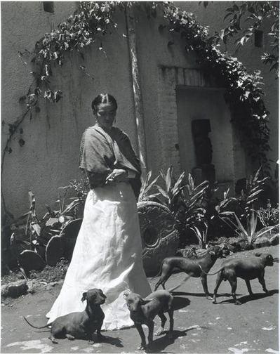 A black and white photo of Frida Kahlo standing outside surrounded by small dogs.