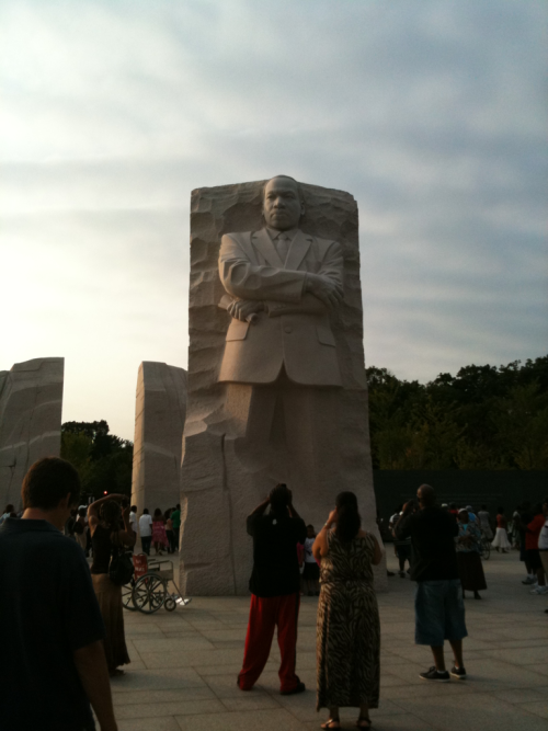 Martin Luther King and people.  Independence Ave SW at West Basin.