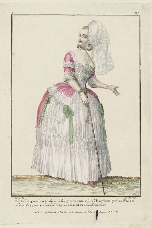 Gallerie des Modes, 1779.  This is a very charming outfit.  I love all the white trim, and her lovely walking stick! And do mine eyes deceive me, or do I see a pocket on her petticoat?