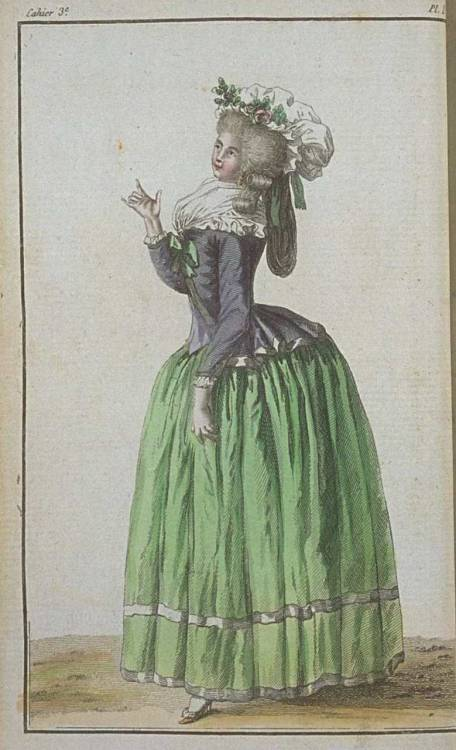 Cabinet des Modes, December 1785.  I really love the banding on the skirts.  I think that is such a charming trim!  These colors are quite beautiful together, too!