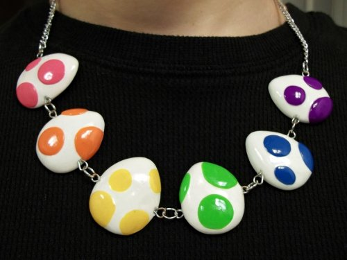 Rainbow Yoshi Egg Necklace // by Kyle Campbell. DeviantART // Etsy