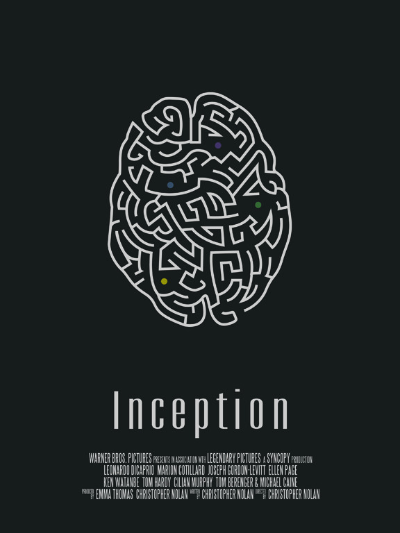 Inception minimalist movie poster by Vincent Gabriele