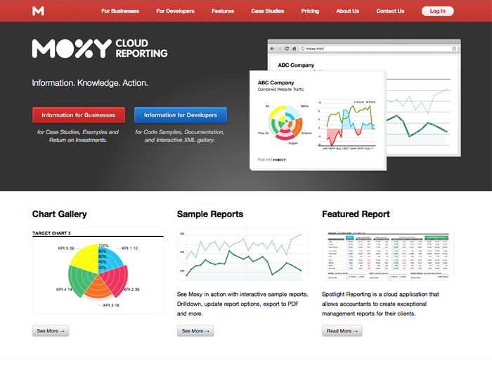 Moxy Reports is one of our young products, and for the last few weeks i've been plugging away at the marketing site.  We still have a way to go optimizing content and getting more graphics into some of the pages, but today, we went live! I'll write more about the process once we have the last stages complete, but for now, have a look at http://www.moxyreports.com/