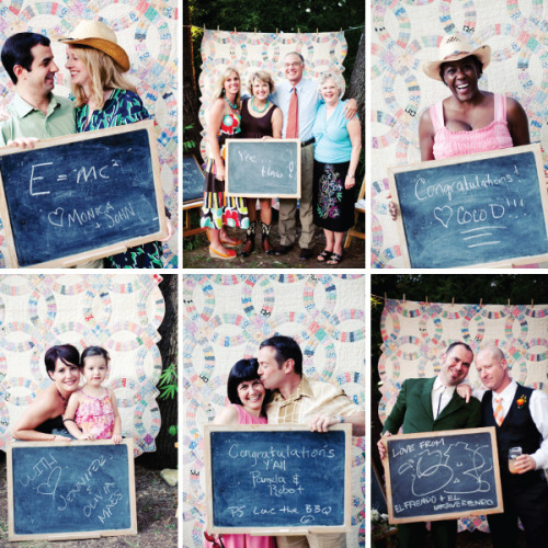 DIY Photo Background with Chalkboards and Quilt. Found on Style Me Pretty here. Photography by The Nichols. What a great idea for a wedding, anniversary party, birthday party, etc… Better than signing a HUGE guest book where everyone only signs their name and fills up 3 pages :(