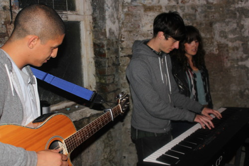 popscenesters:  Scenes from a Water Street Basement Show. Luke Leighfield and Jose Vanders doing their Bon Iver cover. It was a great time, thanks to everyone who played and came along!  We played a show in Rob's basement in Huddersfield. It was very fun. lukeandjose.com