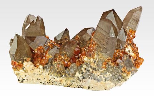 Smoky Quartz with Spessartine from China