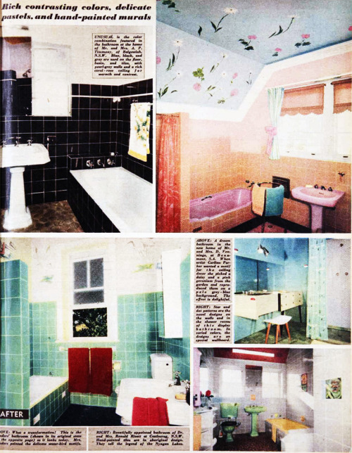 1957 bathrooms - black! pink! green! aqua!