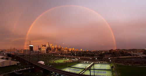 Good morning from Philadelphia. Double Rainbow over Penn Park, University of Pennsylvania (by University Communications - Web)