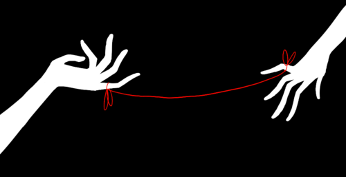 ginobean:  According to this myth, the gods tie an invisible red string around the ankles of men and women who are destined to be soul mates and will one day marry each other.  The two people connected by the red thread are destined lovers, regardless of time, place or circumstances. This magical cord may stretch or tangle, but never break.  10 years and halfway around the world apart, yet. We sing the same songs. We watch the same shows. We read the same books. We play the same games. We laugh at the same things. We like and want and love the same things. Tell me that's not Magical.