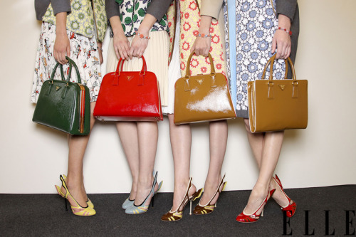 elle:  Backstage Ticket A lineup of ladylike bags behind the scenes at Prada! Photo: Imaxtree