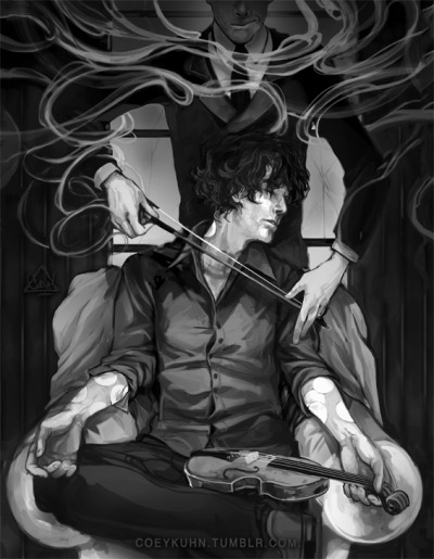 coeykuhn:  : | more sherlock fanart? Yes. *HASAPROBLEM-NOIWONTGETHELP*Moriarty n Sherli :U Original sketch had john there (behind him) instead but it just wasnt working out. stupid jawn. -COEY! ps. Moriarty- what's w/ that smoke? u a wizard? quit that. — UPDATE: omg all your comments are so funny. I love you guys XD ——