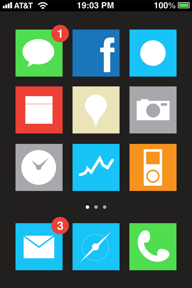 vizualize:  Funny GUI design I made as a part of an iPhone5 concept I did with my friend Gianluca Antonini  I think this is hysterically funny. Windows Phone brought to the iPhone without live tiles.