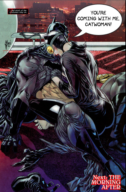 zdarsky:  Batman, finally acting like a REAL hero. For more on the sexy situation, read Laura's piece and Andrew's piece. Both excellent.