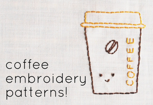 Coffee Embroidery Patters {FREE} Found at: http://wildolive.blogspot.com