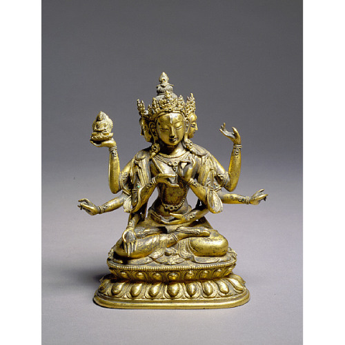Usnisavijaya19th centuryTibetan  bronze with gilding Saint Louis Art Museum