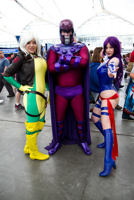 geeksintights:  Rogue, Magneto, and Psylocke For more comic book cosplay goodness, follow Geeks in Tights!  .