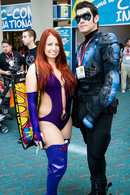Starfire and Nightwing For more comic book cosplay goodness, follow Geeks in Tights!