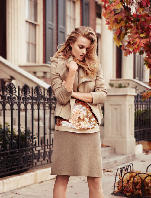 anntaylor:  Tone-One-Tone For us elegance is in the subtlety-like this gorgeous tone-on-tone look layered with soft lines and hints of pearlized paillettes