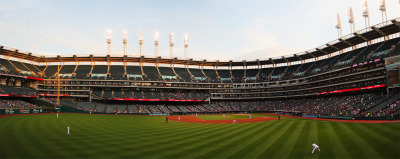 the view from the front row of the bleachers at Progressive Field. It's my favorite place to work or watch the game as a fan. I'll miss this place and my co-workers when I move.