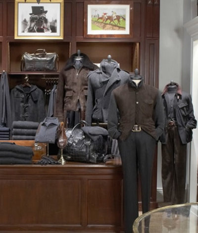 lemonadeandivy:  where men shop: the ralph lauren store ~ a study in grey, navy and brown.