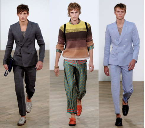 "First Look: TOPMAN The vibe for Spring 2012: The TOPMAN  man for next spring is, as they so eloquently put it, a ""rebellious decadent."" He's that dude in a DB, sucking down champagne at a side street cafe at 3 o'clock on a Tuesday afternoon with two coeds draped on each arm: that guy. And he looks pretty good in brilliant Moroccan-inspired patterns, jacquards, linens, and rich-toned, tasseled kicks. TOPMAN, like we saw in many of the other European men's shows, favors the fitted, double-breasted jacket over much more relaxed underpinnings as the silhouette for the season, a look of equal parts casual and formal, and pretty much all around bad-ass. Done any skydiving in silk slacks recently? You have? Oh, well then let me introduce you to someone… Check out more spring 2012 collections here."