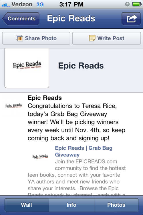 You call it bragging, I call it genuine happiness. I won books from epic reads! This is the first time I entered, and you should enter, too. They are drawing WEEKLY until 11/4.