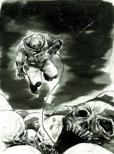 drawnblog:  space skull (by mak wa cheong)