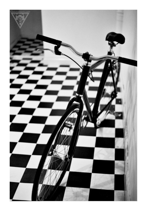 beckatakesphotos:  Adam's new fixie @ The Lord of the Logos expo @ The Magnum Opus Tattoo Gallery, September 11th 2011. Olympus OM20, Kodak B&W 400CN.