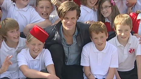 "Doctor Who Visits School ETA: Click for a video of Matt's visit Matt Smith surprised pupils at a Hampshire school by dropping in to thank them for writing a one-off episode. The actor visited students at Oakley Junior School, Basingstoke, who were only expecting to see a preview of their three-minute show in assembly. He said of the winning script-writers: ""They did a brilliant job"". Four pupils from the school wrote the script as part of a competition set up by the writers of the show. Smith, who will star in the episode called Death is the Only Answer, said: ""What they've done with their imagination and their inventiveness is just remarkable. ""I think it was funny, well plotted, they got the tone and the madness of the doctor, they got the danger."" Katie, one of the school's 'scriptwriters', said: ""It just feels amazing to know that I'm the youngest ever person to write a script."" The episode will be aired on 1 October on BBC Three."