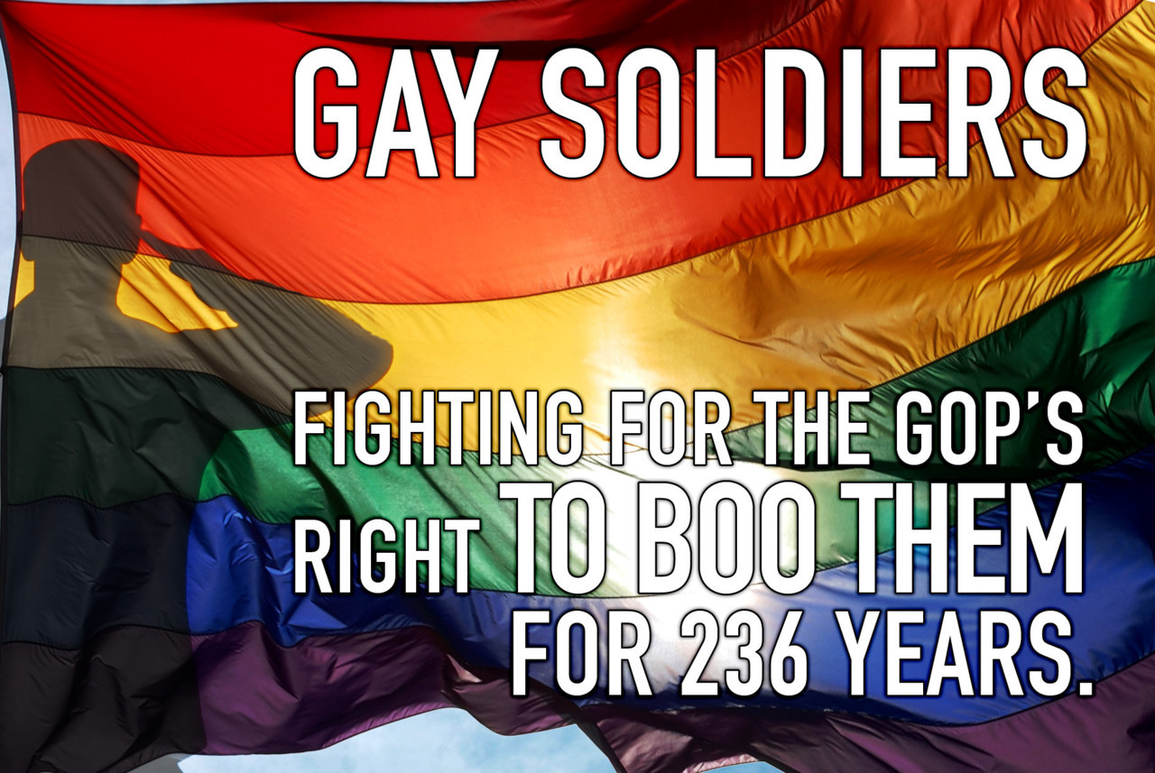 Gay Soldiers… I'm sure this also goes for all military branches not just the army but, still, the point is poignant. *EDIT: Though the other branches may not have the same number of years.