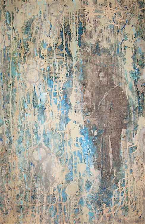 Kevin Regan Mullin  New York City Paris Blues No.5 mixed media on canvas, detail, 48 x 48""