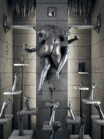 zachariadis:darksilenceinsuburbia: Martinakis Adam .Martinakis Adam creates masterful three-dimensional environments where buildings are made in the form of giant human beings. His powerful, surrealistic works resemble large scale metal sculptures. Since 2006, the Polish artist and interior designer has been teaching digital graphics at Athens College in Greece.