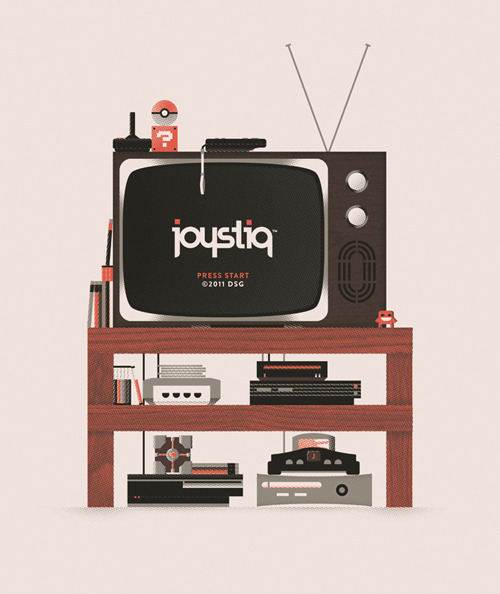 coryschmitz:  Joystiq Shirt (by cory schmitz) Shirt commisioned by video game blog Joystiq. Here is the Joystiq post.  I wish i had an awesome modern mixed nostalgic tv setup