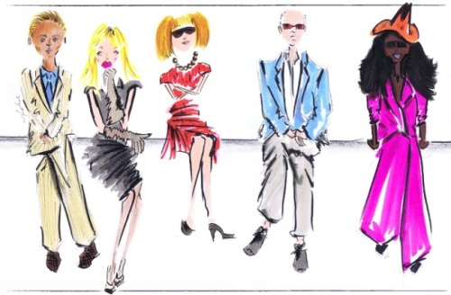 An illustration of fashion week's front row elite commissioned by Vogue.com creative director Candy Pratts Price.