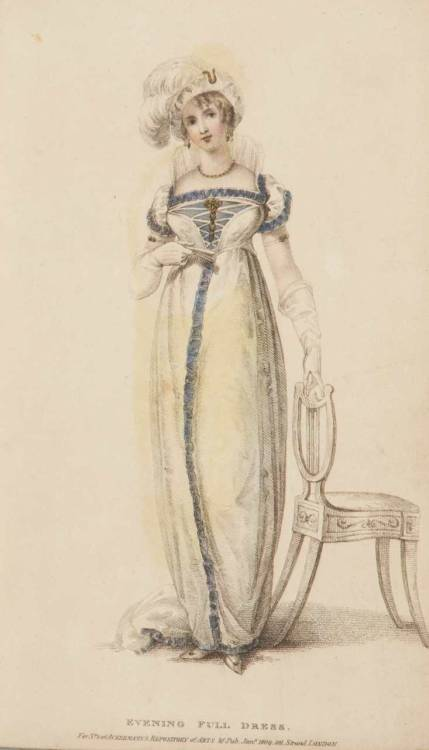 Ackermann's Repository, Evening Dress, January 1809.  I really like the blue trimming on this gown, and check our her awesome collar/ruff thingy!