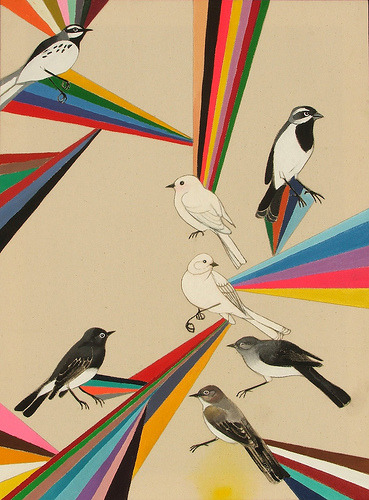 happyhues:  Birds and rainbows. Rainbows and birds. Elemental Spectrums (by Alice DuBois)