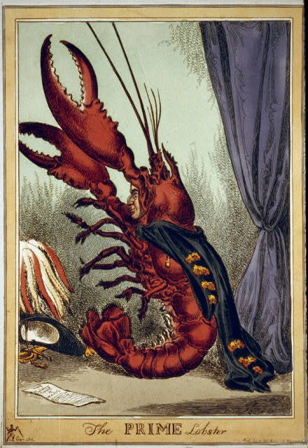 "forgottenantiquities:  ""The Prime Lobster"" political cartoon, 1828."