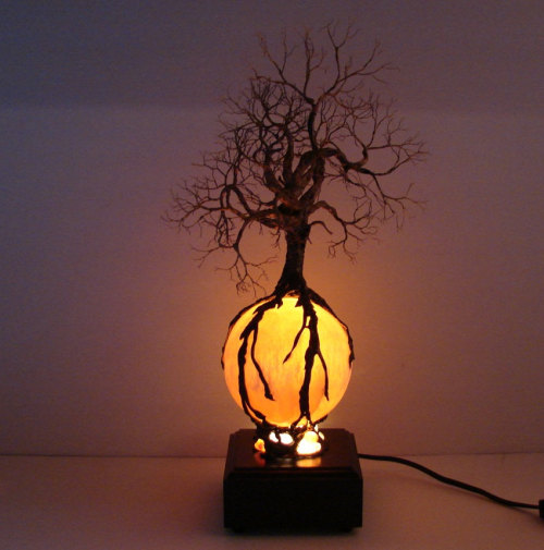365daysofhalloween:  This is expensive, but very cool. Wire Tree Of Life Ancient Spirit sculpture Autumn Harvest Moon with Wood light base, original art by CrowsFeathers on etsy