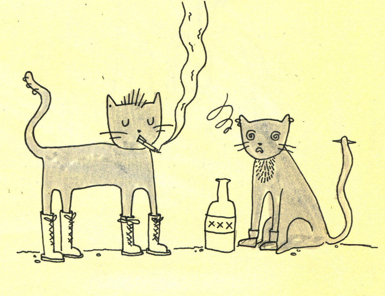 Ian Anderson has been doing some wonderful drawings of teen cats recently and I guess this is fanart of that? These two are delinquant cats, delinqcats? I don't know, I should probably go to bed.