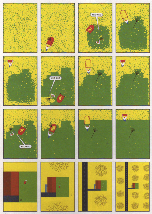 Every autumn I'm reminded of Richard McGuire's near-silent comic, which appeared in McSweeney's Quarterly Concern: Issue 13 (2004). His haiku-like presentation of man's efforts to battle against and regulate the inevitability of the seasons with his trusty rake is a sight and sound which can be observed across the world as the leaves start to fall. As we zoom out a little, we can see that nature has an order of its own: it's not as messy as we think.