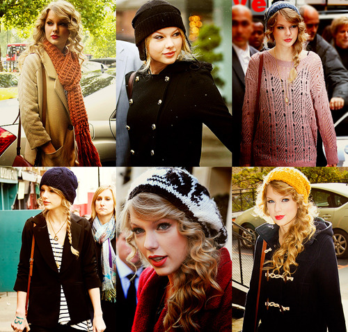 "Seasons of Taylor → Winter style Now, there are differences of opinion on the value of Taylor Swift's music to the world (although I am firmly in the ""give me more of her adorableness"" camp), but her winter style is something that should be universally appreciated. Her mix of knitted beanies, toggle jackets and oversize scarves is the perfect combination of comfy, casual and stylish (trust me, if your hair isn't looking that great one day or you aren't sure about your oufit, throwing on a beanie and a structured jacket is the perfect style fix).  Here are some pieces to help you channel her cuteness (At least, I know I want to):  So, do you love her style as much as I do? Do these photos make you want to run out and wear red lipstick and a beanie ASAP?"
