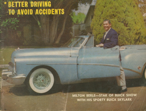 heck-yeah-old-tech:  Uncle Miltie showing off the Buick he got as payment for hosting a show.  Your Car, April 1954  He's standing outside the car because his giant penis refuses to get in the passenger seat. Look it up.