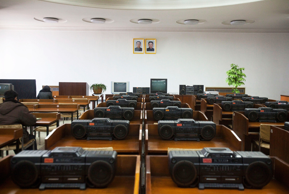 SUBMISSION: Communists Organize Things Neatly Rows of portable stereos populate a music library room at the Grand People's Study House in Pyongyang, North Korea. (David Guttenfelder/Associated Press)