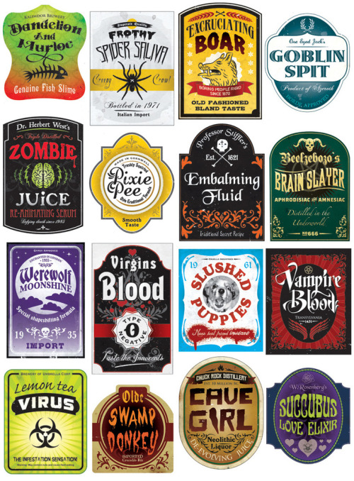 heyoscarwilde: Illustrator Steven Silverwood's customized spooky beer labels that are bang on perfect for the next Harry Potter or Halloween themed party you are planning :: via stevensilverwood.bigcartel.com  Halloweencrafts: These are no longer available on Flickr but you can find them on Pinterest in groups of four. Favorites: Slushed Puppies and Pixie Pee.
